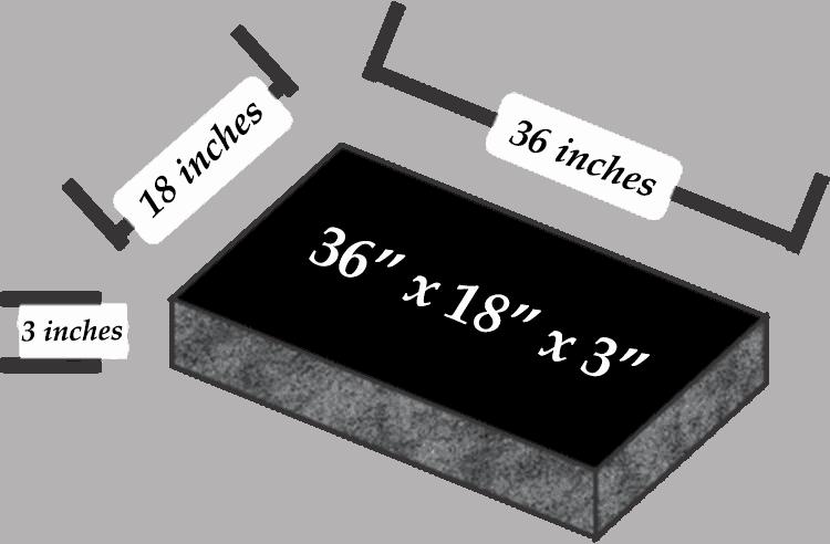 36 x 18 x 3